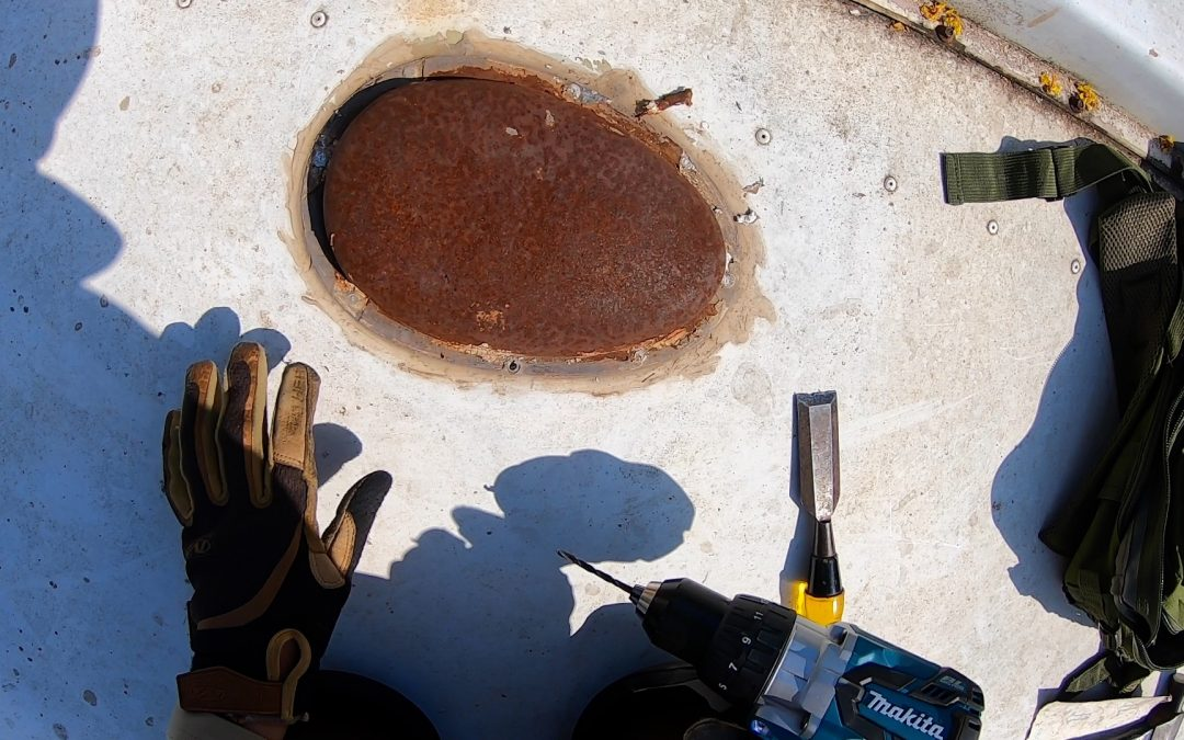 Removing a leaking rusty vent cover