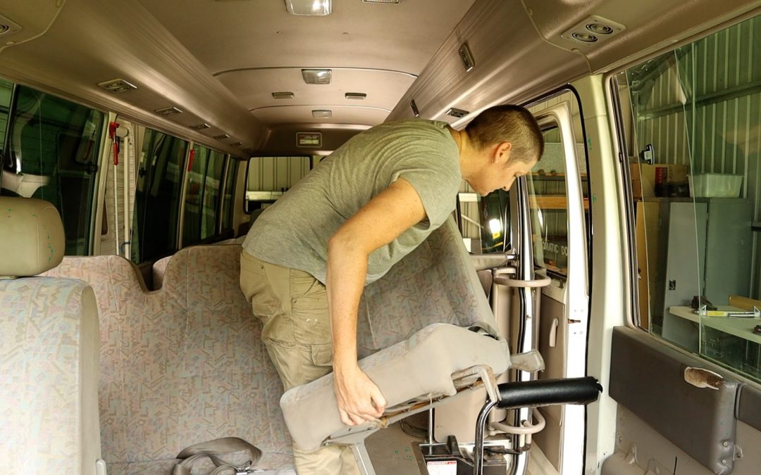 Starting my Toyota Coaster bus conversion – removing the seats