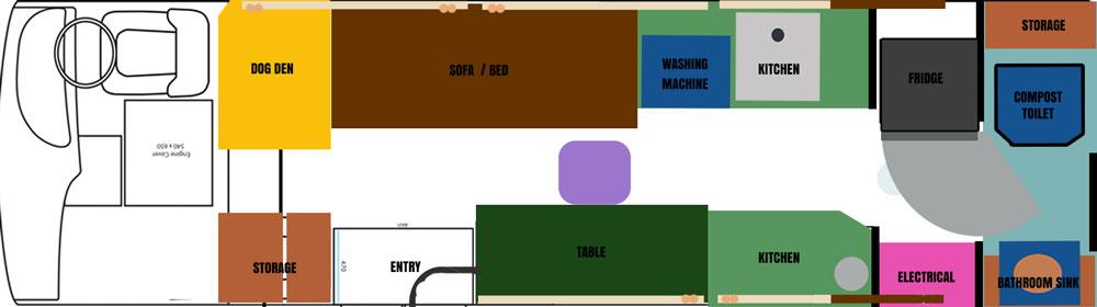 Toyota Coaster layout plan