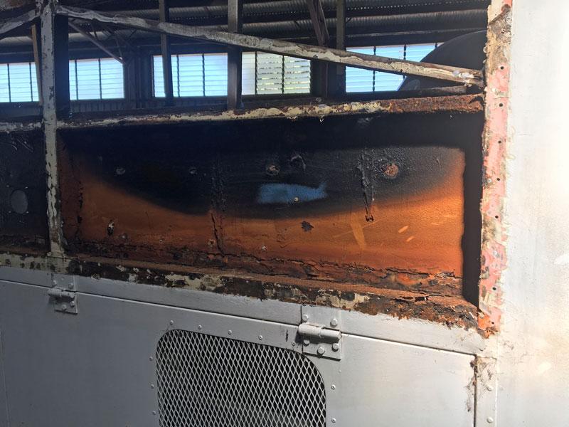 rust inside bus frame